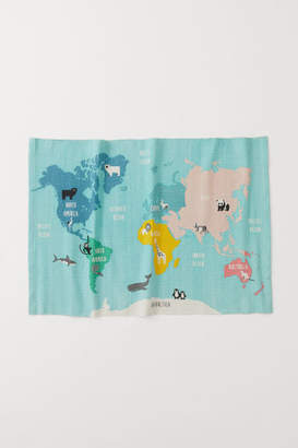 H&M World Map-motif Cotton Rug - Turquoise