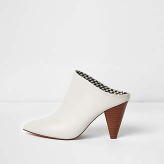 River Island Womens White pointed toe cone heel mules