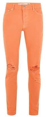 Topman Mens Orange Ripped Stretch Skinny Jeans