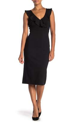 Just For Wraps Ruffled V-Neck Midi Dress