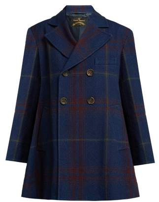 Vivienne Westwood Checked Cotton And Wool Blend Coat - Womens - Navy Multi