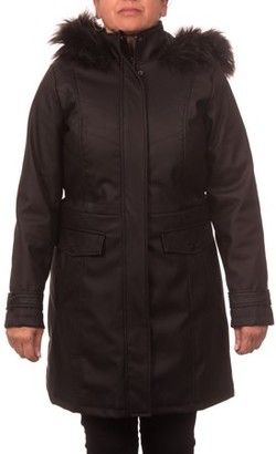 Unbranded Women's Faux Leather Anorak Coat with Detachable Fake Fur Trimmed Hood