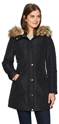 Lark & Ro Women's Mid-Length Anorak Parka with Faux-Fur Hood
