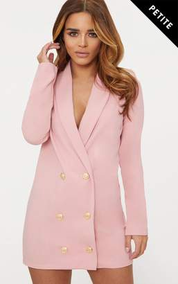 PrettyLittleThing Petite Dusky Pink Gold Button Blazer Dress