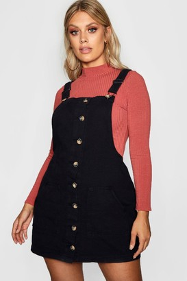 boohoo Plus Horn Button Denim Pinafore Dress