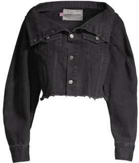 Sandy Liang Reny Cropped Open Collar Denim Jacket