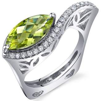 Oravo 2.00 Carat Peridot Rhodium-Plated Sterling Silver Engagement Ring