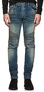 Balmain Men's Distressed Slim Biker Jeans-Blue