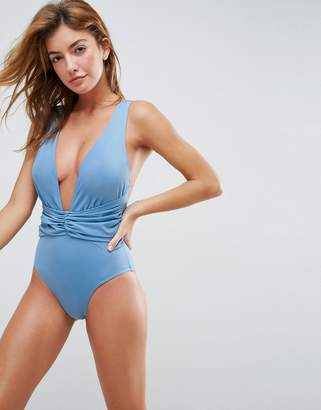 Asos Design DESIGN recycled Plunge Ruched Front Swimsuit