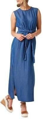 ABS by Allen Schwartz Collection Smocked Tie-Waist Chambray Maxi Dress