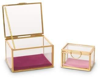 Oliver Bonas Gold & Glass Pink Velvet Trinket Boxes Set of Two