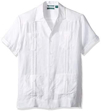Cubavera Men's Slim Fit Short Sleeve 100% Linen Guayabera Shirt