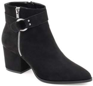 Brinley Co. Womens Buckle Accent Pointed Toe Bootie