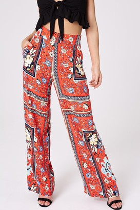 Girls On Film Azalea Red Scarf Print Wide-Leg Trousers