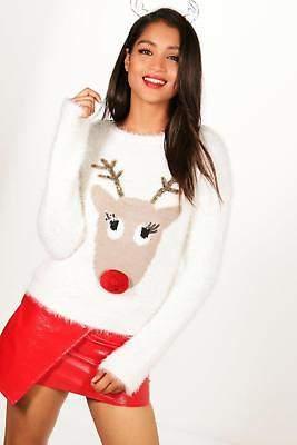 Jessica Pom Pom Tinsel Lash Reindeer Jumper