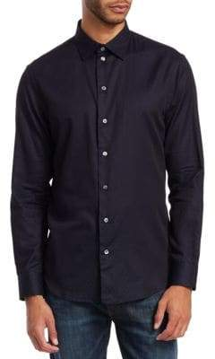 Emporio Armani Regular-Fit Dyed Stretch Poplin Shirt