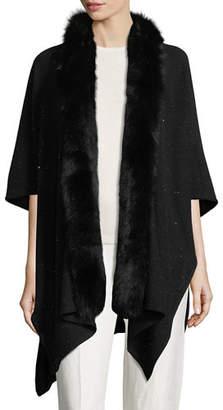 Sofia Cashmere Cashmere-Blend Sequin Ruana Wrap w/ Fur Trim