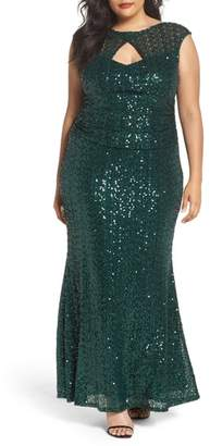 Marina Cutout Sequin Lace Gown