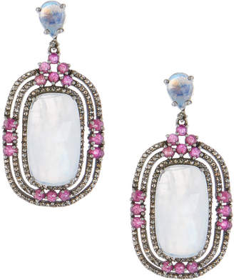 Bavna Moonstone & Glass Ruby Drop Earrings