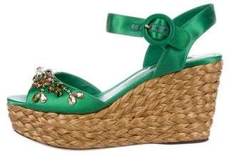 Dolce & Gabbana Embellished Satin Wedges
