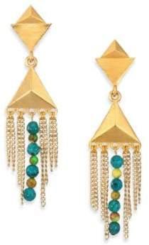 Stephanie Kantis Dimension Green Turquoise Howlite & Blue Turquoise Howlite Drop Earrings