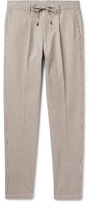 Beams Tapered Pleated Striped Cotton-Blend Seersucker Drawstring Trousers