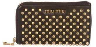 Miu Miu Stud Embellished Leather Zip Pouch
