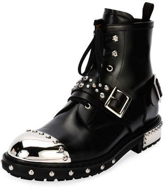 Alexander McQueen Studded Cap-Toe Leather Lace-Up Boot, Black