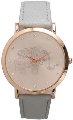 OLIVIA PRATT Olivia Pratt Womens Rhinestone Accent Elephant Dial Gray Rose Leather Watch 26411Gray Rose