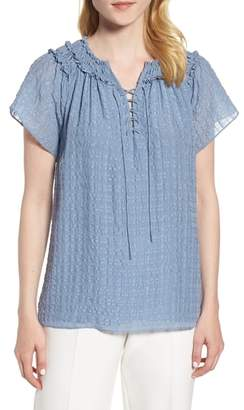 Nordstrom Signature Crinkle Silk Stripe Lace Up Blouse