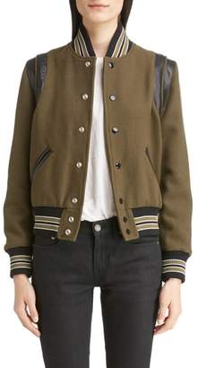 Saint Laurent Leather Trim Classic Teddy Jacket