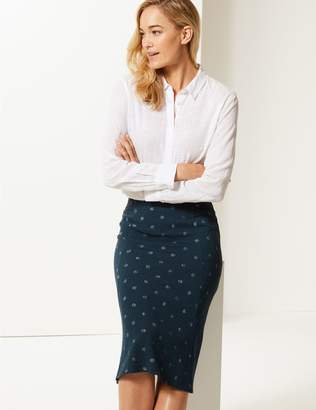 Marks and Spencer Spotted Jersey A-Line Midi Skirt