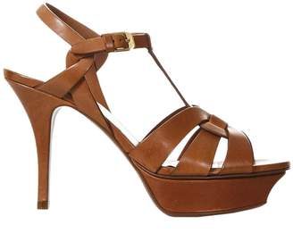 Saint Laurent Heeled Sandals Tribute Sandal Classic In Leather With Stiletto Heel