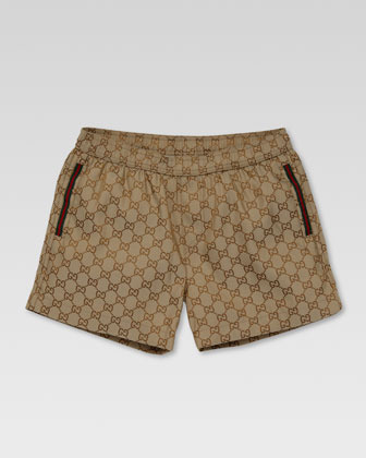 Gucci GG Swim Shorts, Beige/Ebony