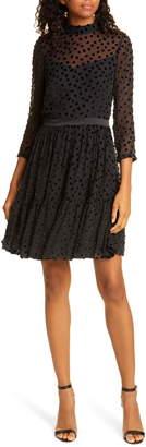Rebecca Taylor Velvet Dot Ruffle Hem Dress