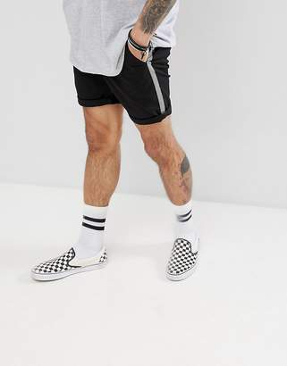 Asos Design DESIGN Slim Chino Shorts In Black With Checkerboard Side Tape