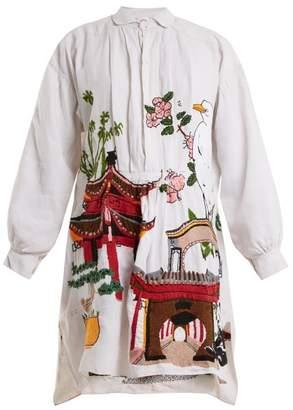 Kilometre Paris - Chengdu And Kunming Embroidered Linen Shirtdress - Womens - White Multi
