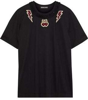 Markus Lupfer Alex Tulle-Trimmed Embellished Cotton-Jersey T-Shirt