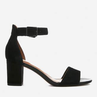 Clarks Women's Deva Mae Suede Blocked Heeled Sandals - Black
