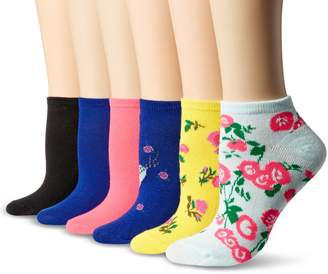 Betsey Johnson Women's Embellished Heart and Flower Low Cut Socks 6 Pack