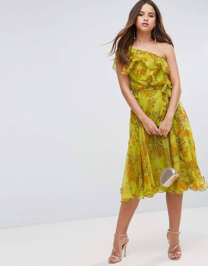 AsosASOS One Shoulder Ruffle Floral Midi Dress