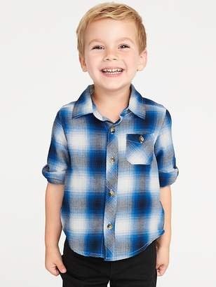 Old Navy Plaid Roll-Up Sleeve Shirt for Toddler Boys