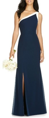 Women's Social Bridesmaids One-Shoulder Chiffon Gown $198 thestylecure.com
