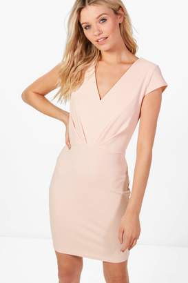 boohoo Phoebe V-Neck Short Sleeve Fitted Dress