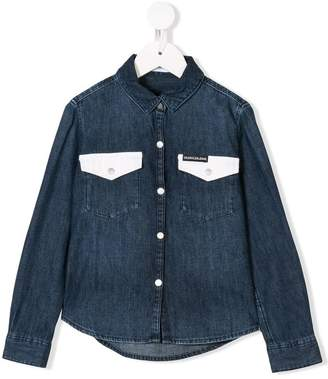 Calvin Klein Kids contrast pocket denim shirt