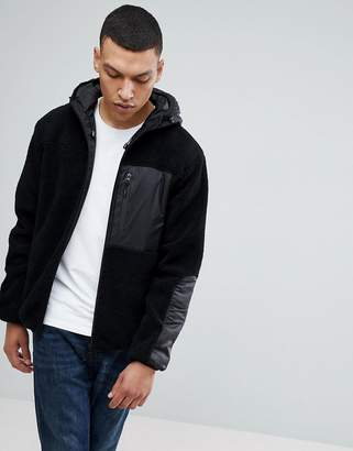 Bellfield Hooded Zip Through Jacket In Teddy Fleece
