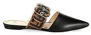 Fendi Women's Leather Logo Strap Slides Sandals