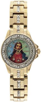 Elgin Womens Jesus Crystal-Accented Watch