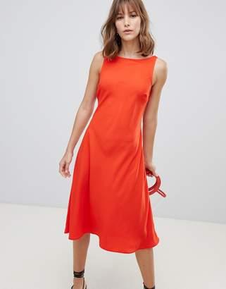 Warehouse tie back midi dress in red