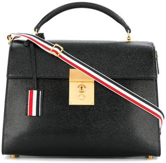 Thom Browne Unstructured Mrs. Thom Jr. (28x19,5x9 Cm) With Red, White And Blue Shoulder Strap In Pebble Lucido Leather